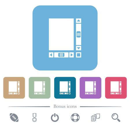 Blank document with scroll bars white flat icons on color rounded square backgrounds. 6 bonus icons included Vettoriali