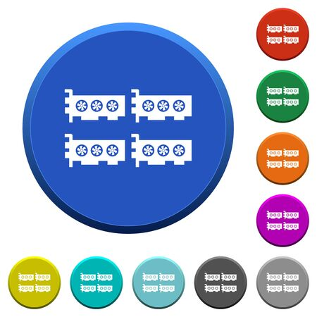 Cryptocoin mining farm round color beveled buttons with smooth surfaces and flat white icons