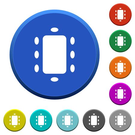 Meeting round color beveled buttons with smooth surfaces and flat white icons
