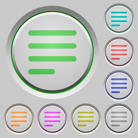 Text align justify last row left color icons on sunk push buttons