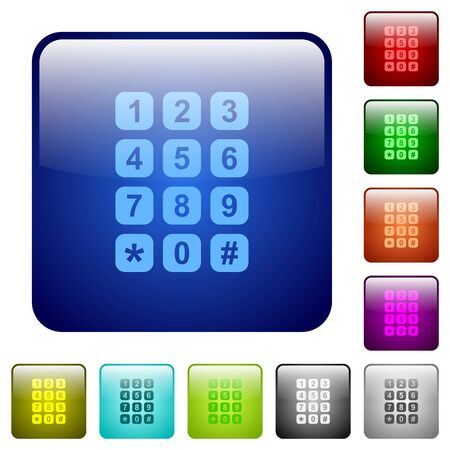 Numeric keypad icons in rounded square color glossy button set