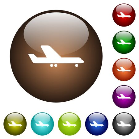 Airplane white icons on round glass buttons in multiple colors Illustration
