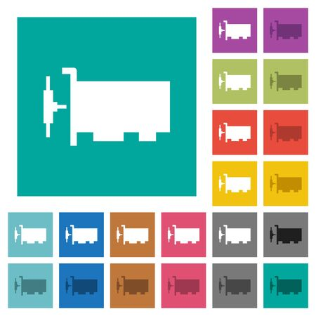 Network interface card multi colored flat icons on plain square backgrounds. Included white and darker icon variations for hover or active effects.