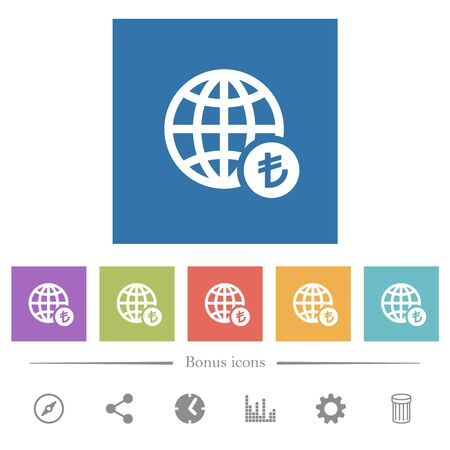Online Lira payment flat white icons in square backgrounds. 6 bonus icons included.