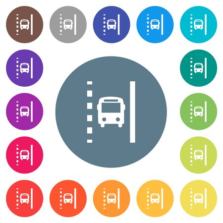 Bus lane flat white icons on round color backgrounds. 17 background color variations are included.