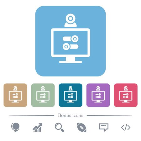 Webcam tweaking white flat icons on color rounded square backgrounds. 6 bonus icons included Illustration