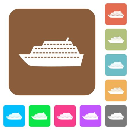 Cruise ship flat icons on rounded square vivid color backgrounds.