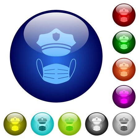 Police hat and medical face mask icons on round glass buttons in multiple colors. Arranged layer structure