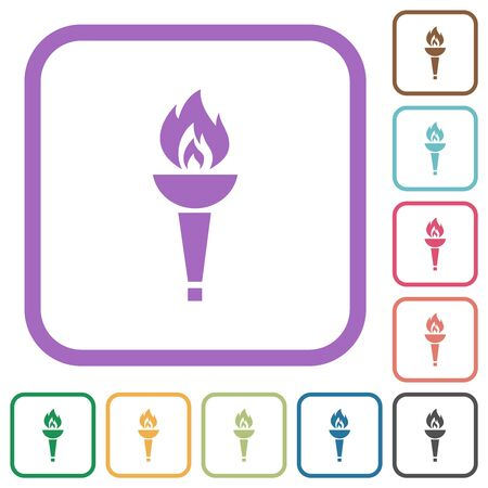 Torch simple icons in color rounded square frames on white background