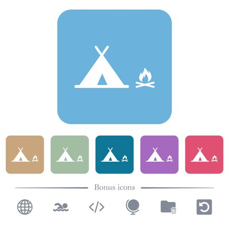 Camping white flat icons on color rounded square backgrounds. 6 bonus icons included