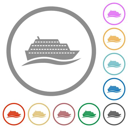 Cruise ship with wave flat color icons in round outlines on white background Çizim