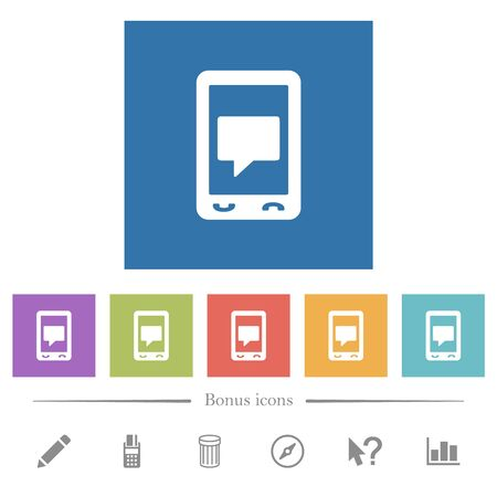 Mobile chat flat white icons in square backgrounds. 6 bonus icons included.