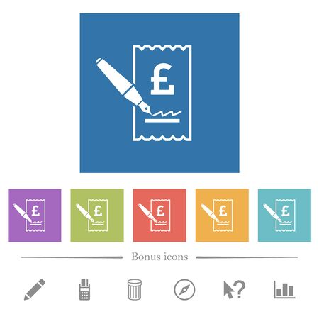 Signing Pound cheque flat white icons in square backgrounds. 6 bonus icons included. Ilustração