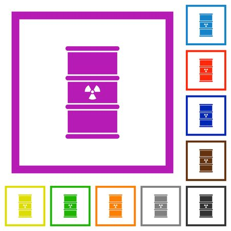 Radioactive waste flat color icons in square frames on white background Ilustração