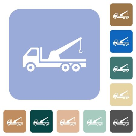 Crane truck white flat icons on color rounded square backgrounds