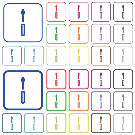 Single screwdriver color flat icons in rounded square frames. Thin and thick versions included.