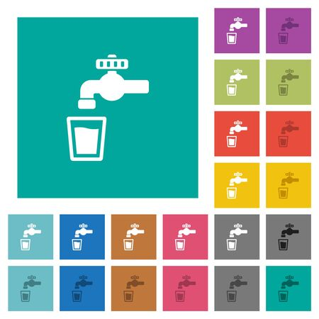 Drinking water multi colored flat icons on plain square backgrounds. Included white and darker icon variations for hover or active effects. Stock Illustratie