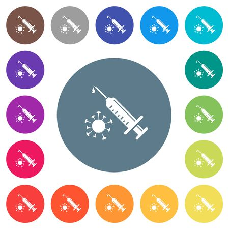 Antiviral injection flat white icons on round color backgrounds. 17 background color variations are included.