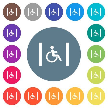 Handicapped parking flat white icons on round color backgrounds. 17 background color variations are included.