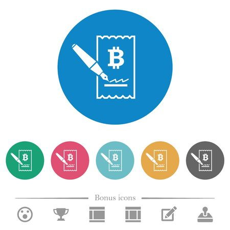 Signing Bitcoin cheque flat white icons on round color backgrounds. 6 bonus icons included.