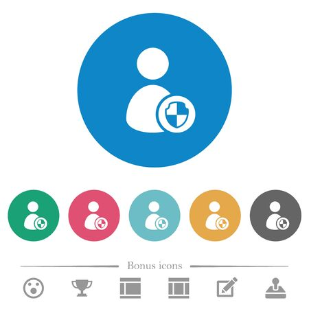 User account protection flat white icons on round color backgrounds. 6 bonus icons included.