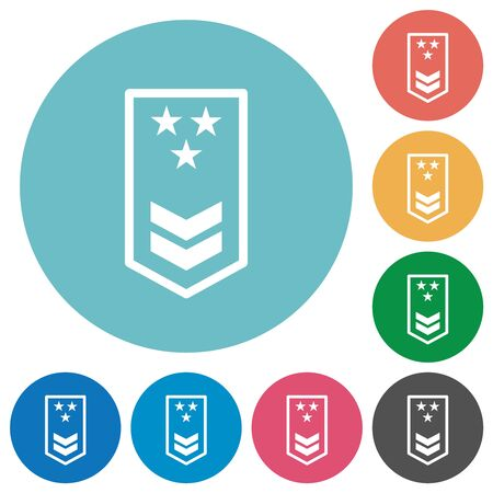 Military insignia with two chevrons and three stars flat white icons on round color backgrounds