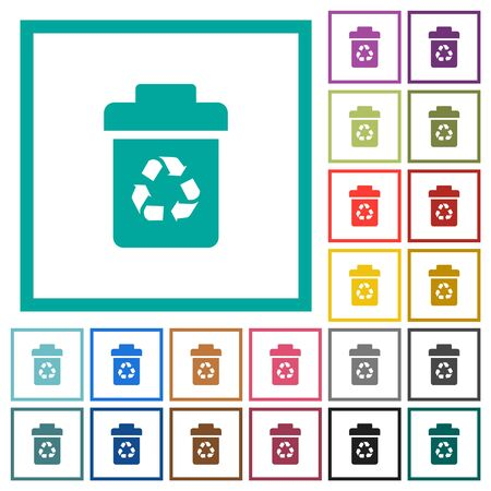Recycle bin flat color icons with quadrant frames on white background