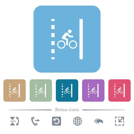 Bicycle lane white flat icons on color rounded square backgrounds. 6 bonus icons included