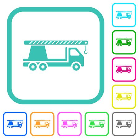 Crane truck vivid colored flat icons in curved borders on white background