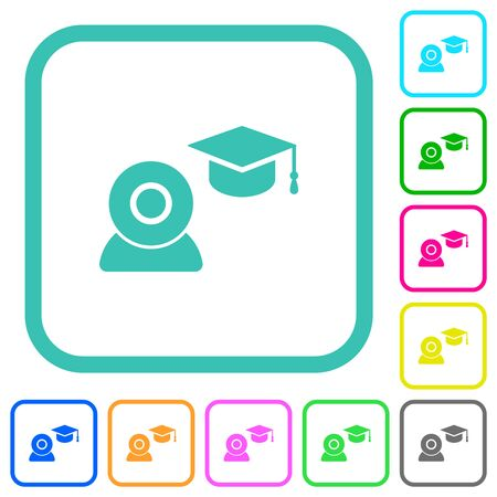 Distance learning vivid colored flat icons in curved borders on white background