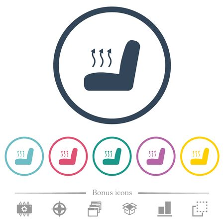 Car seat heating flat color icons in round outlines. 6 bonus icons included.