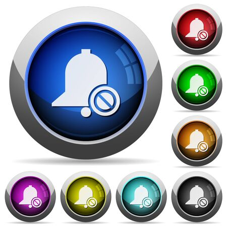 Disable reminder icons in round glossy buttons with steel frames in several colors Illustration