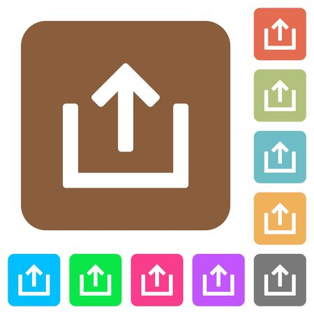 Export item flat icons on rounded square vivid color backgrounds.