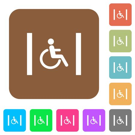 Handicapped parking flat icons on rounded square vivid color backgrounds. 向量圖像