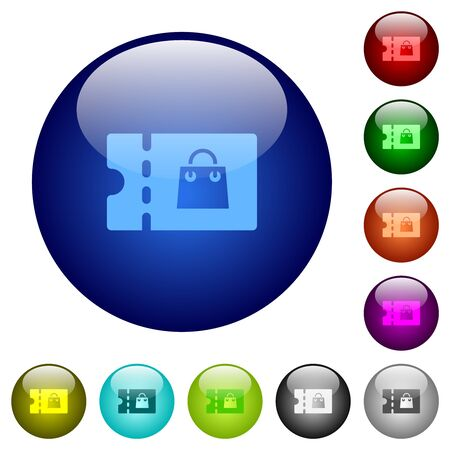 Bag discount coupon icons on round glass buttons in multiple colors. Arranged layer structure