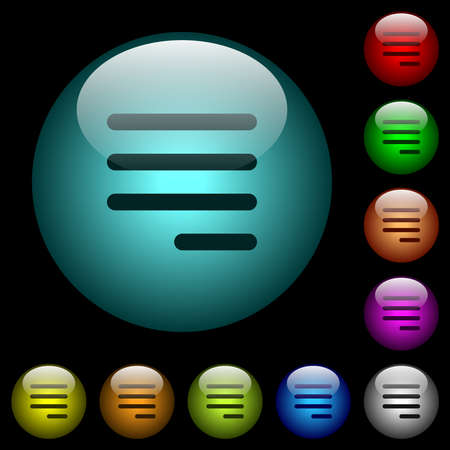 Text align justify last row right icons in color illuminated spherical glass buttons on black background. Can be used to black or dark templates