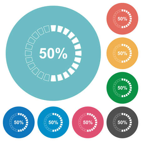 50 percent loaded flat white icons on round color backgrounds