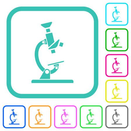 Microscope vivid colored flat icons in curved borders on white background