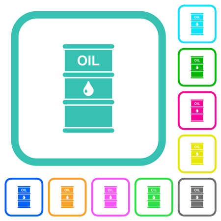 Oil barrel vivid colored flat icons in curved borders on white background