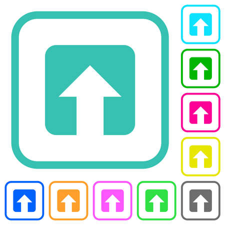 Upload vivid colored flat icons in curved borders on white background Vettoriali