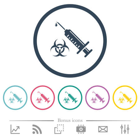 Antiviral injection flat color icons in round outlines. 6 bonus icons included. Illustration