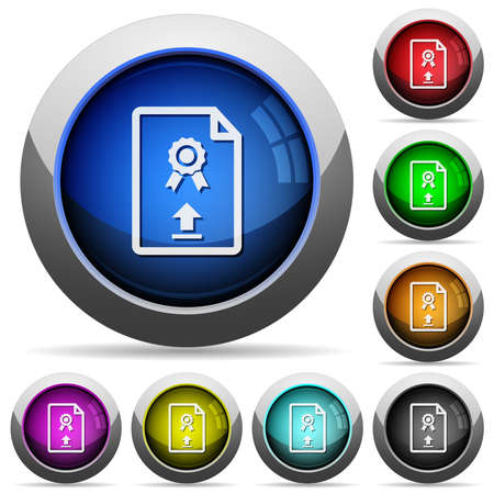 Upload certificate icons in round glossy buttons with steel frames in several colors  イラスト・ベクター素材