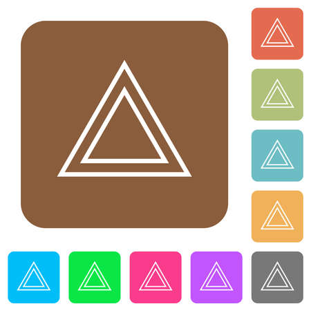 Traffic emergency triangle flat icons on rounded square vivid color backgrounds.