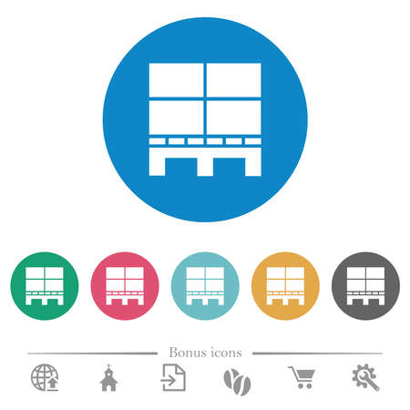 Pallet with boxes flat white icons on round color backgrounds. 6 bonus icons included.