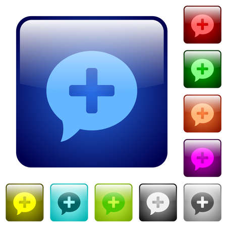 Add comment icons in rounded square color glossy button set