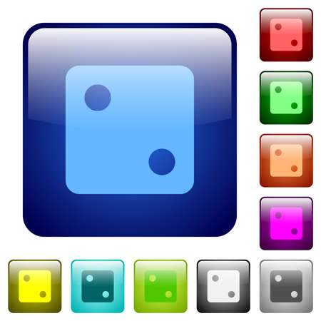 Dice two icons in rounded square color glossy button set