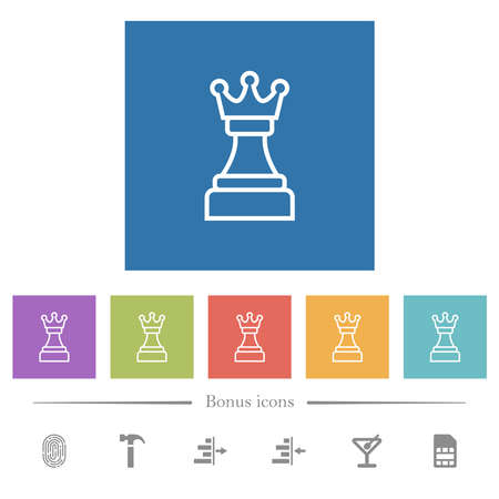 White chess queen flat white icons in square backgrounds. 6 bonus icons included.