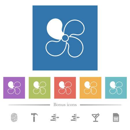 Car fan level 1 flat white icons in square backgrounds. 6 bonus icons included. Ilustração