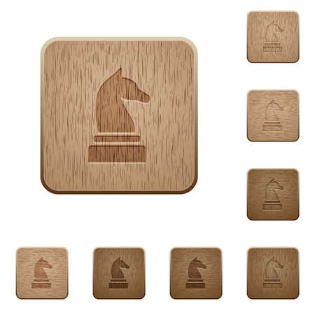 Black chess knight on rounded square carved wooden button styles