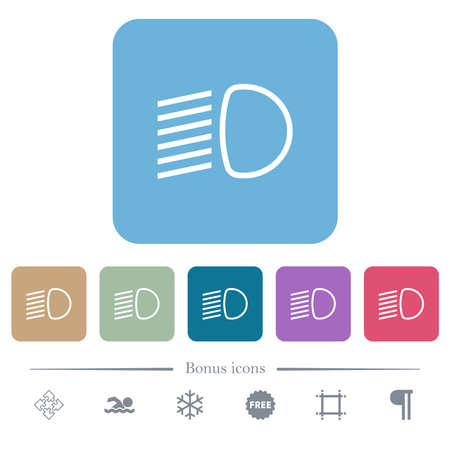 Dipped beam lights white flat icons on color rounded square backgrounds. 6 bonus icons included Illustration